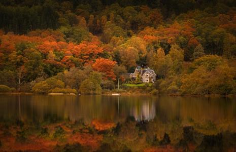 房子,秋天,水,树木,性质,苏格兰湖,苏格兰,亚当西