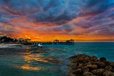 热带,沙滩,海,石头,码头,黎明,拿骚,巴哈马