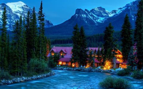 房子和舒适,山,山河,美丽