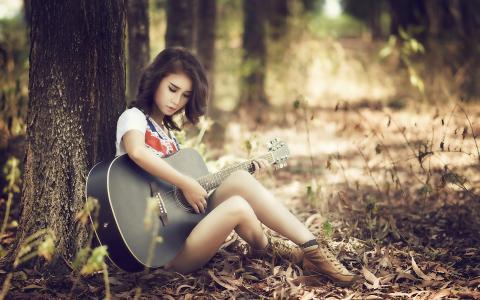 女孩,女孩,女孩,女孩,亚洲,吉他,性质,树,鞋,美女,看,人,秋天,美丽