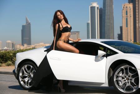 女孩,看,脸,模型,美容,汽车