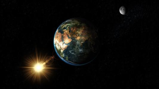 地球,行星,地球,房子,太阳,月亮