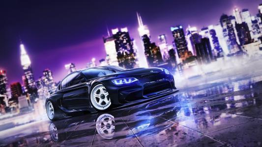 超级跑车,宝马,调整,城市,黑暗的背景