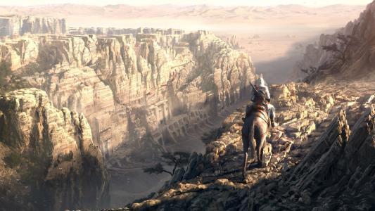 山,悬崖,孤独的战士