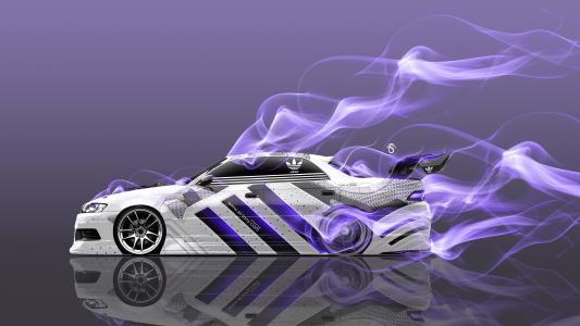 东尼·克汉,丰田Mark2,JZX90,JDM,阿迪达斯,鞋,徽标,优化,气象学,紫罗兰色,烟,漂移,汽车,侧面,白色,埃尔托尼汽车,Photoshop,设计,艺术,风格,4K,壁