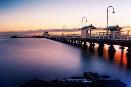景观,码头,黎明,海洋,岸边