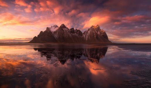 自然,冰岛,海,海洋,山,岩石,天空,云