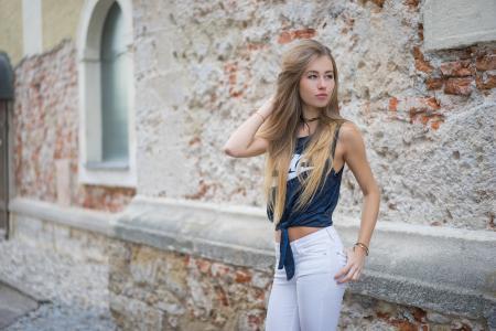 女孩,肖像,长长的头发