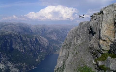 运动,极端,飞行,山,岩石,峡湾