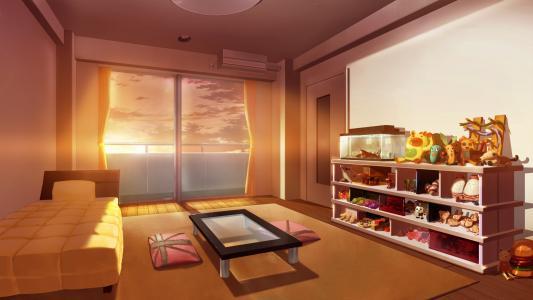 黎明,窗口,动漫,玩具