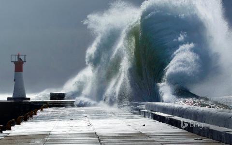 自然,防波堤,波浪,美容,bing