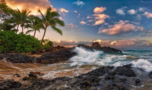 毛伊岛,夏威夷,毛伊岛,夏威夷,太平洋,岩石,冲浪,岩石,棕榈树,云,热带