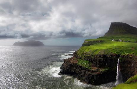 自然,山,岩石,瀑布,村庄,丹麦,法罗群岛,天空,阴云密布