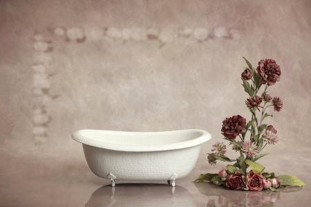 浴,布什,鲜花,墙上