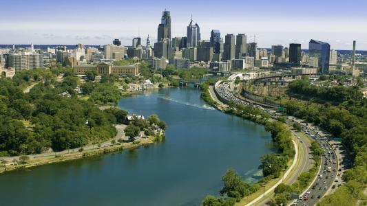 城市,河流,桥梁,路堤,建筑物,天空,路,绿化,公园,美容
