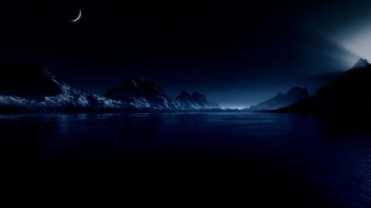 水,海,山,光,月亮,星星,夜晚