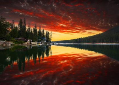 自然,树,森林,日落,公园,山,天空,云,河,水,反射,房屋