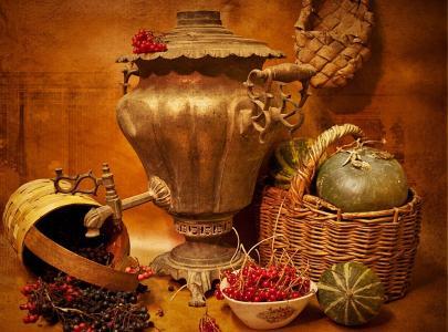 静物,茶炊,篮子,麻鞋,浆果