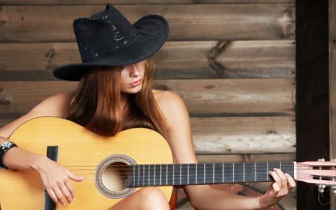 帽子,音乐,女孩,吉他