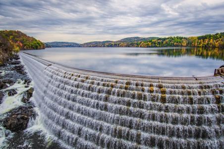 照片,水坝,瀑布,秋天。
