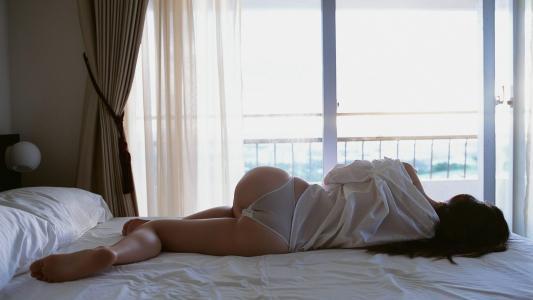 早上,床,公寓,女孩