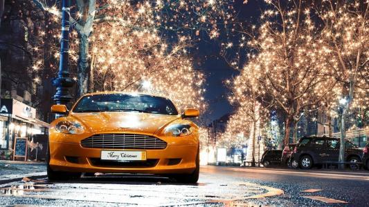 阿斯顿马丁,汽车,街道,灯光,照明,眩光,灯光,树木,美女