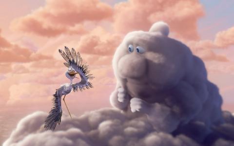 卡通,鹳,云,查看,天空