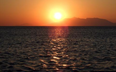 海,山,日落,地平线