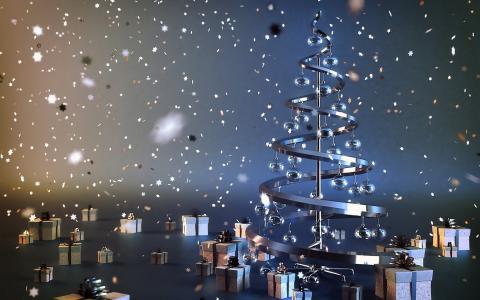 圣诞树,球,礼物