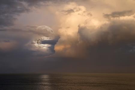 满月,海,波浪,地平线,月亮