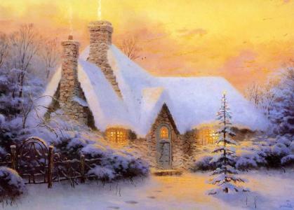圣诞节,平房,冬天,雪,光,托马斯·金凯德