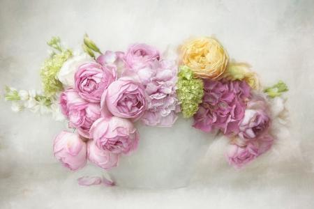 鲜花,花束,玫瑰,绣球花,渲染