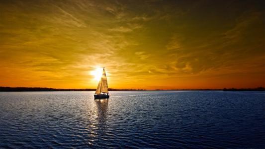 河,船,俯卧,美丽,夏天