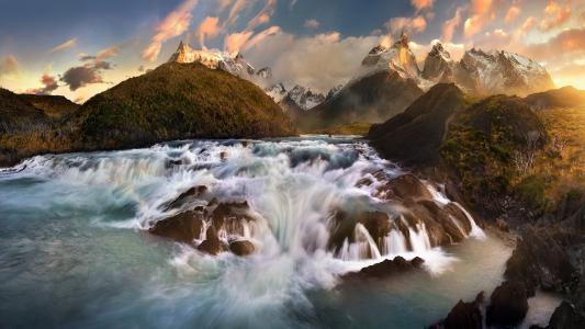 山,安第斯山脉,巴塔哥尼亚,水,流,瀑布,岩石,巨石,岩石,云,天空