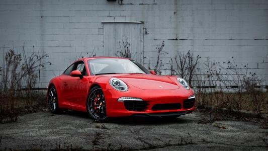 保时捷,911,保时捷,超级跑车,墙壁,红色