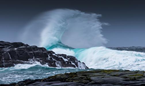自然,景观,海景,风暴,波,水,海