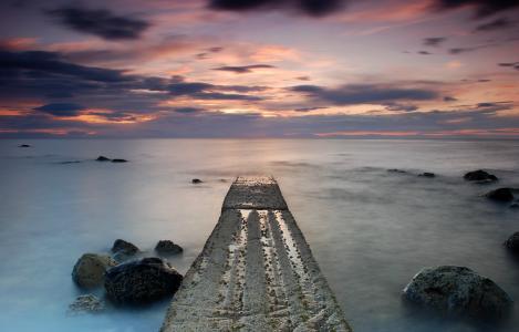 海岸,平静,海,英国,石头,苏格兰