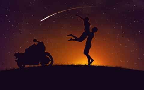 夫妇,日落,摩托车,爱情