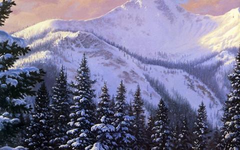 一天,图片,雪,山,冬天,圣诞树
