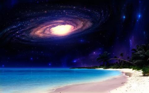 自然,空间,幻想,海滩,星星,美丽