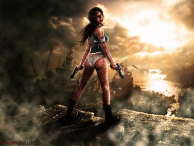 古墓丽影,女孩,石头,绷带,血,手枪