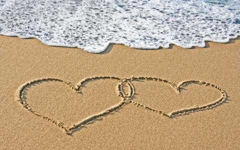 写,爱,心,沙,心情,心