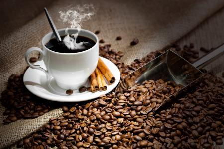热,勺子,杯,咖啡,饮料,飞碟,肉桂