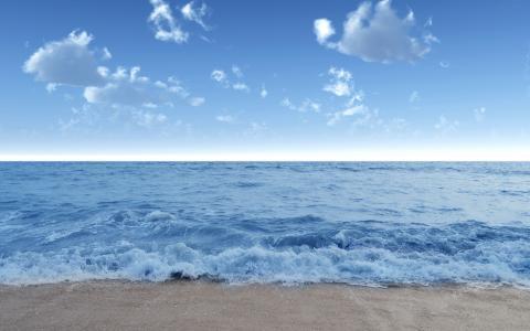 海,波,波,水,岸,海滩,沙,天空,蓝色,云,夏天,景观,性质
