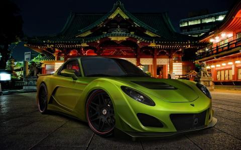 马自达,RX-7,日本,绿色,汽车,avto,街道