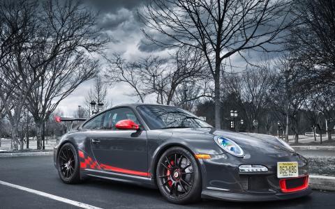 汽车,汽车,活塞911,电机,车轮,车轮,调整,道路,树木,保时捷911