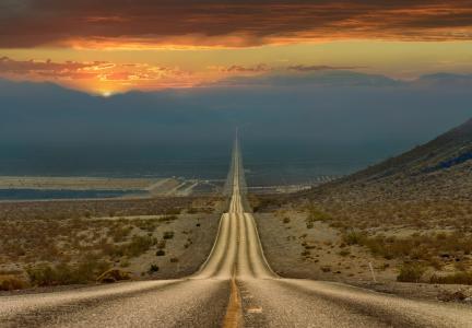 美国,州,加利福尼亚州,死亡谷,天空,晚上,沙漠,路