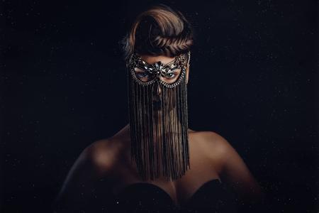 女孩,幻想,黑暗的背景,创意,面具,看