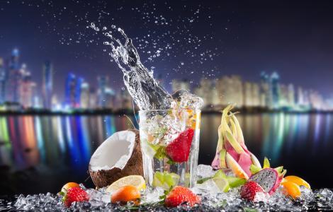 鸡尾酒,水果,椰子,柠檬,飞溅,玻璃,城市