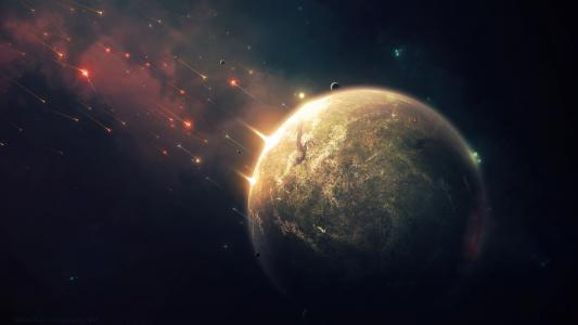 星球,地球,绘画,陨石